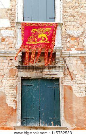 Venice. Old facade.