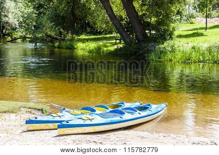 canoeing on Krutynia River, Warmian-Masurian Voivodeship, Poland
