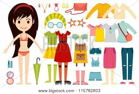 Beautiful vector cartoon fashion girl model constructor  look standing over white background. Cartoon fashion young  woman. Modern beauty looks. Some modern everyday clothes icons
