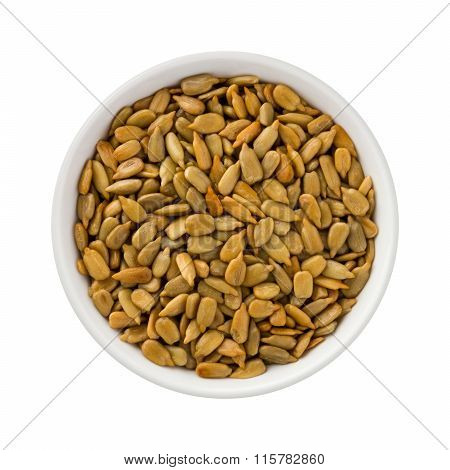 Roasted Sunflower Seeds In A Ceramic Bowl