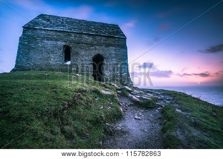 Lonely Ancient Chapel On Cornish Coast,uk