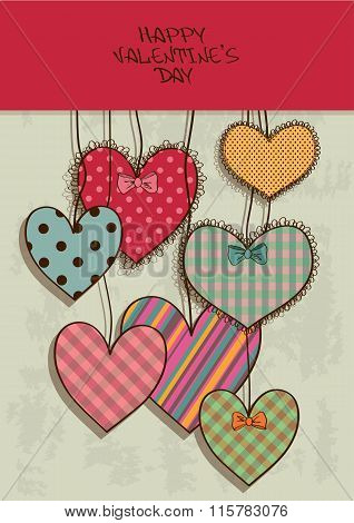 Valentine's Greeting Card With Scrapbook Hearts