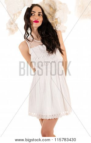 charming woman in white dress