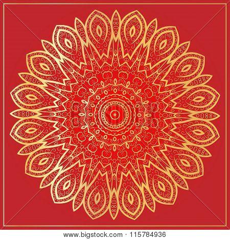Ornament Gold Card With Mandala.
