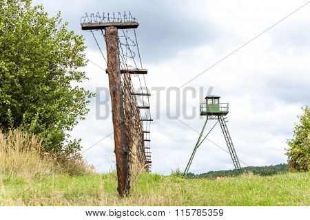 patrol tower and remains of iron curtain, Cizov, Czech Republic