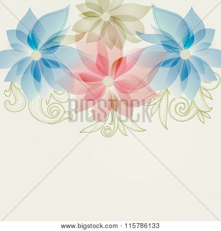 Spring floral background in pink and blue