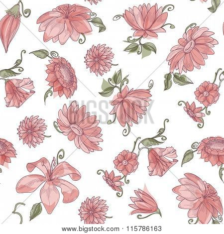 Pink flowers over white spring seamless pattern