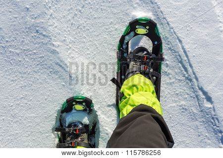 Men Wallking In Snow With Snowshoe