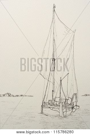 Ink line drawing of a Spritsail Sailing Barge