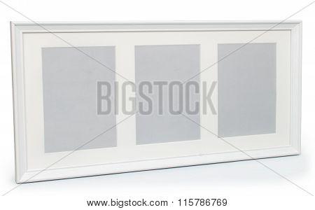 White Photo Frame For Three Photos On Isolaed  Background