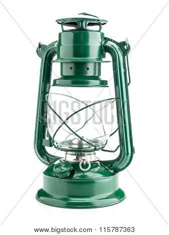 Vintage green oil lamp on white background