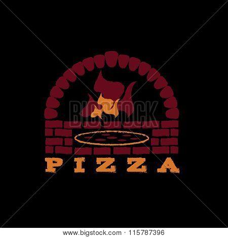 Illustration Of Brick Oven Pizza On Black Background
