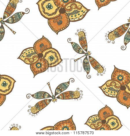 Seamless pattern with dragonflies and flowers