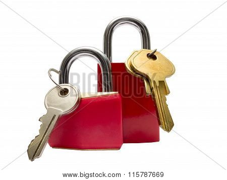 Two Red Padlocks With Keys