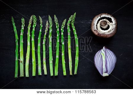 Asparagus, Onion And Portobello, Top View