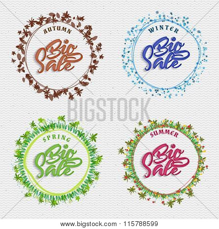 Big sale badge, seasonal summer, autumn, spring, winter, can be used to design the goods during disc