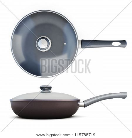 Two pans with lid, side view and top view.