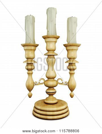 Wooden chandelier with candles on white background.