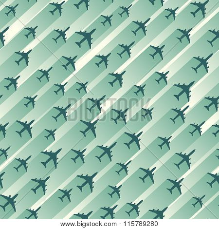 Seamless Abstract Background Of Aircrafts.