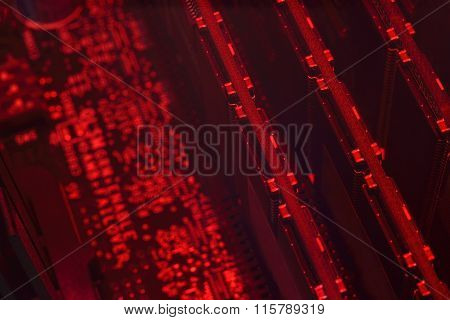 Abstract Red Microcircuit With Ram