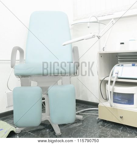 Interior of a pedicure room. Pedicure chair