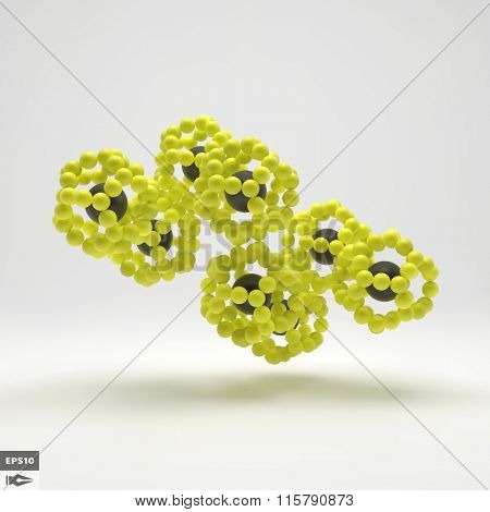 3D Molecule Structure. Futuristic Technology Style. 3D Vector illustration for Science, Technology, Marketing, Presentation. Connection Structure. Network Design. 3D Vector illustration.