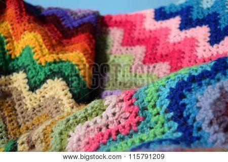 Woven rainbow blanket