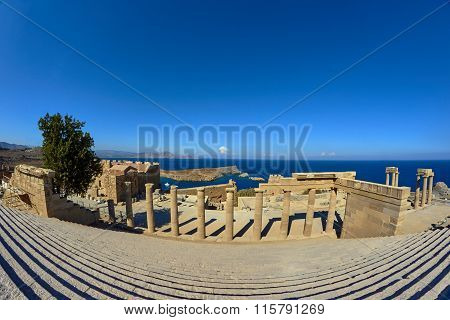 Fragment of the colonnade and the staircase in the ancient city of Lindos
