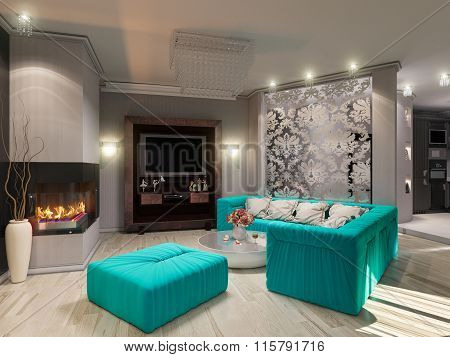3D Illustration Of A Drawing Room In Style Of An Art Decor