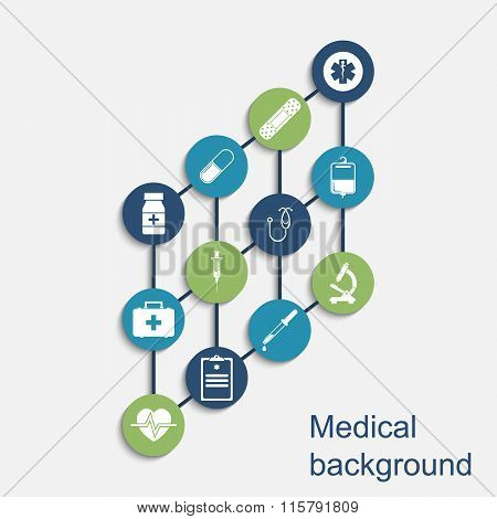 Medical Concept Background. Icons Of Medical Equipment, Diagnostics And Medicine.