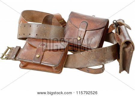 Military Leather Belt Isolated On The White Background