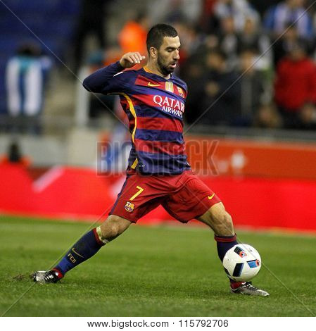 BARCELONA - JAN, 13: Arda Turan of FC Barcelona during a Spanish Kings Cup match against RCD Espanyol at the Power8 stadium on January 13, 2016 in Barcelona, Spain