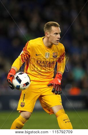 BARCELONA - JAN, 13: Marc-Andre ter Stegen of FC Barcelona during a Spanish Kings Cup match against RCD Espanyol at the Power8 stadium on January 13, 2016 in Barcelona, Spain
