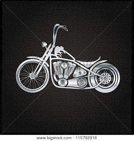 Vintage Silver Motorcycle On Metal Background