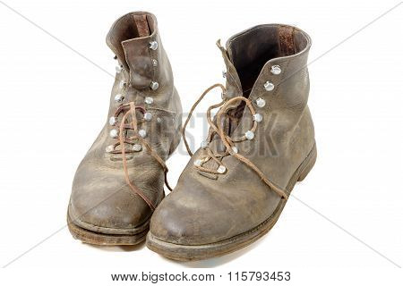 Pair Of Old Ww2 Boots Military Isolated On White Background
