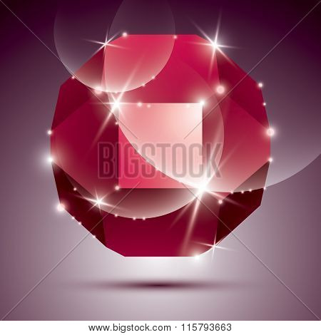 Party Dimensional Red Sparkling Disco Ball. Vector Dazzling Abstract Illustration - Eps10 Treasure.