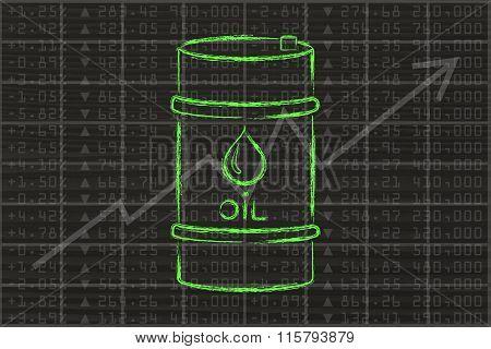 Oil Barrel On Stock Exchange Background