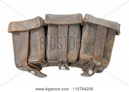 Wwii German Leather Ammo Pouch Isolated On White