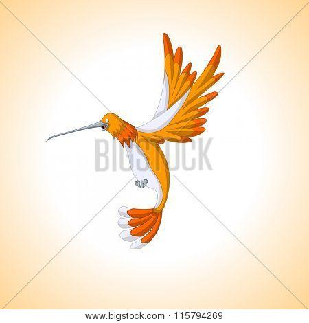 Cute orange cartoon hummingbird flying