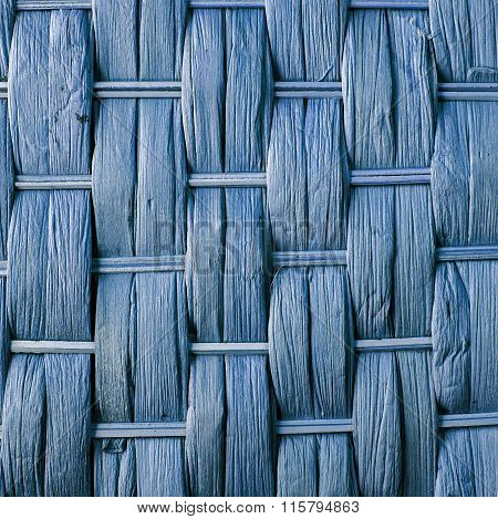 Imaginative Blue Woven Reed / Wood Abstract Background Texture.