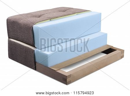 Cross Section Of Sofa, Armchair, Mattress And Upholstery - Open Structure Of Furniture Seat - Foam
