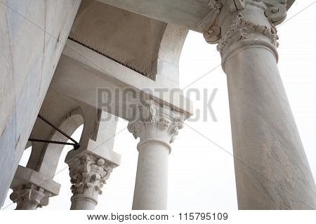 Detail Of Leaning Tower Loggia Pisa Italy