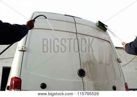 Washing white van