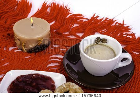 Cup Coffee, Cake And Saucer With Jam.