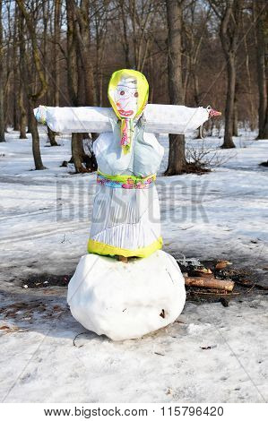 Maslenitsa effigy on a big snowball