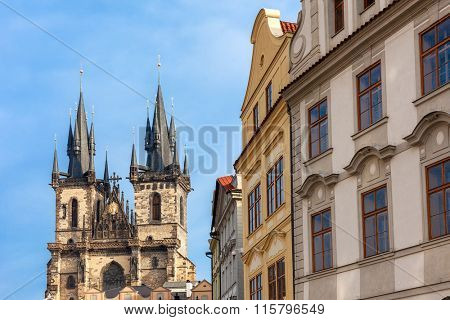 Typical architecture and Church of Our Lady Before Tyn in Prague, Czech Republic.