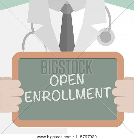 minimalistic illustration of a doctor holding a blackboard with Open Enrollment text, eps10 vector