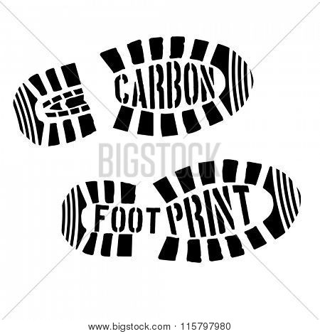 detailed illustration of shoeprints with carbon footprint text, eps10 vector