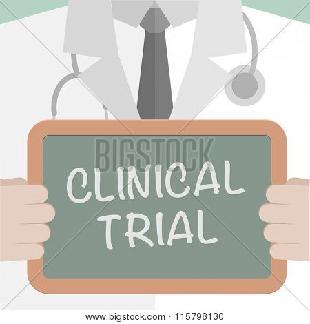 minimalistic illustration of a doctor holding a blackboard with Clinical Trial text, eps10 vector