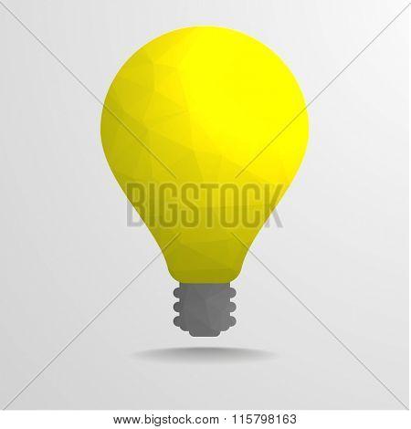 detailed illustration of polygonal lightbulb, eps10 vector